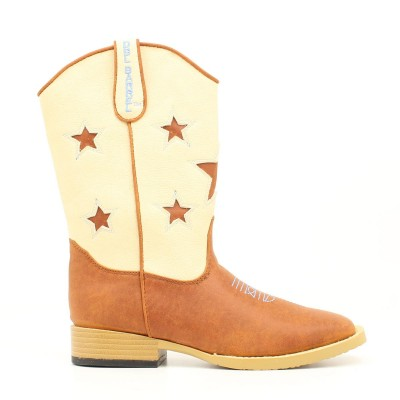 DBL Barrel 4411402-05 Toddler Zip Lone Star Cutout Stars Boot, Brown - Size 5