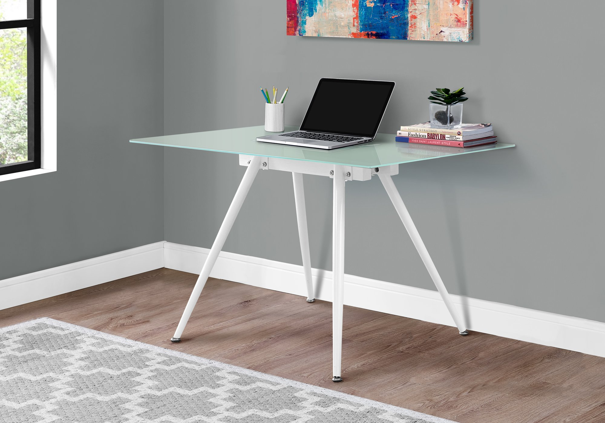 Monarch Specialties I 1032 28 x 48 in. COMPUTER DESK - 28  X 48   / WHITE / 8MM TEMPERED