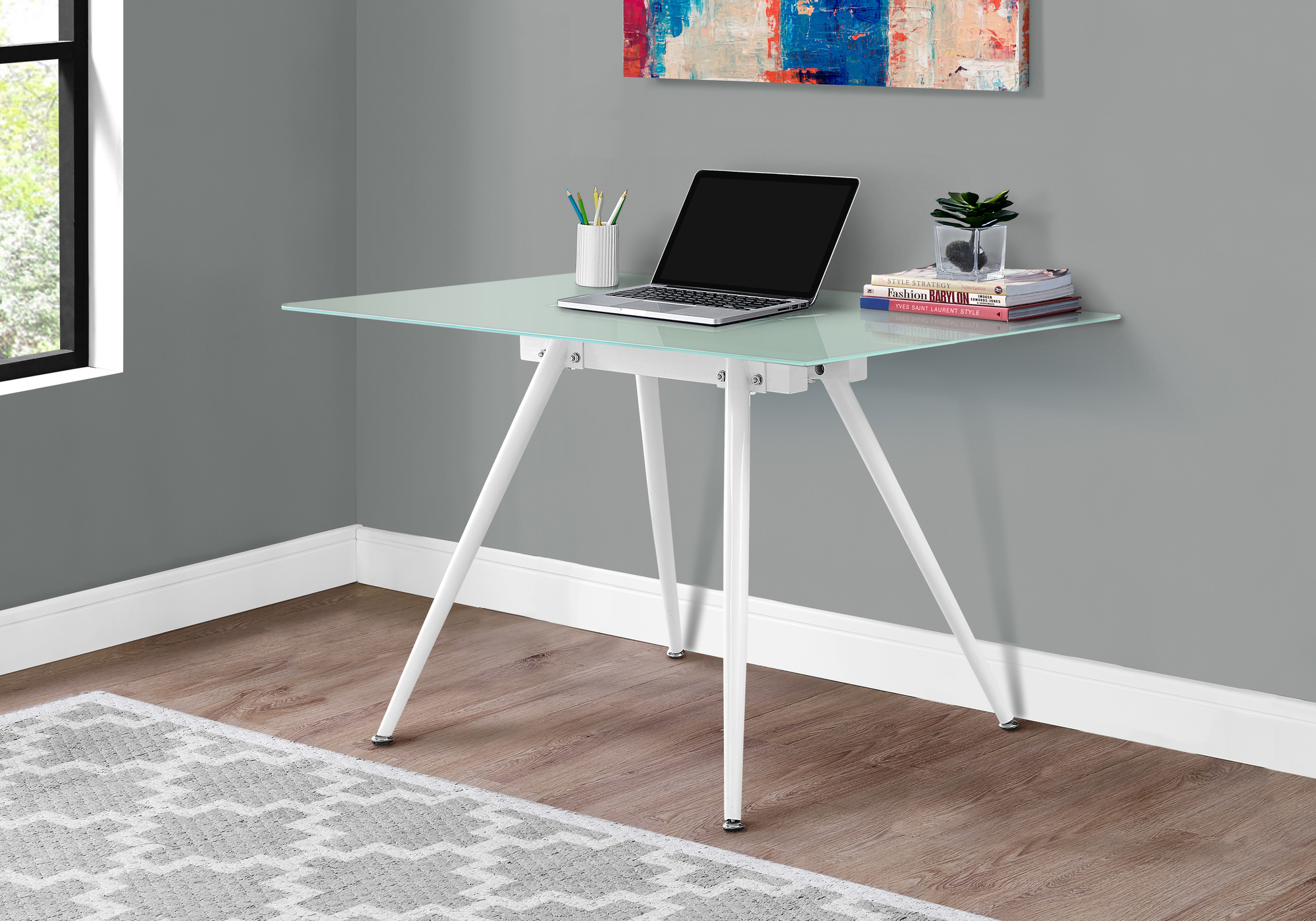 Monarch Specialties I 1032 28 x 48 in. Dining Table with 8 mm Tempered Glass, White