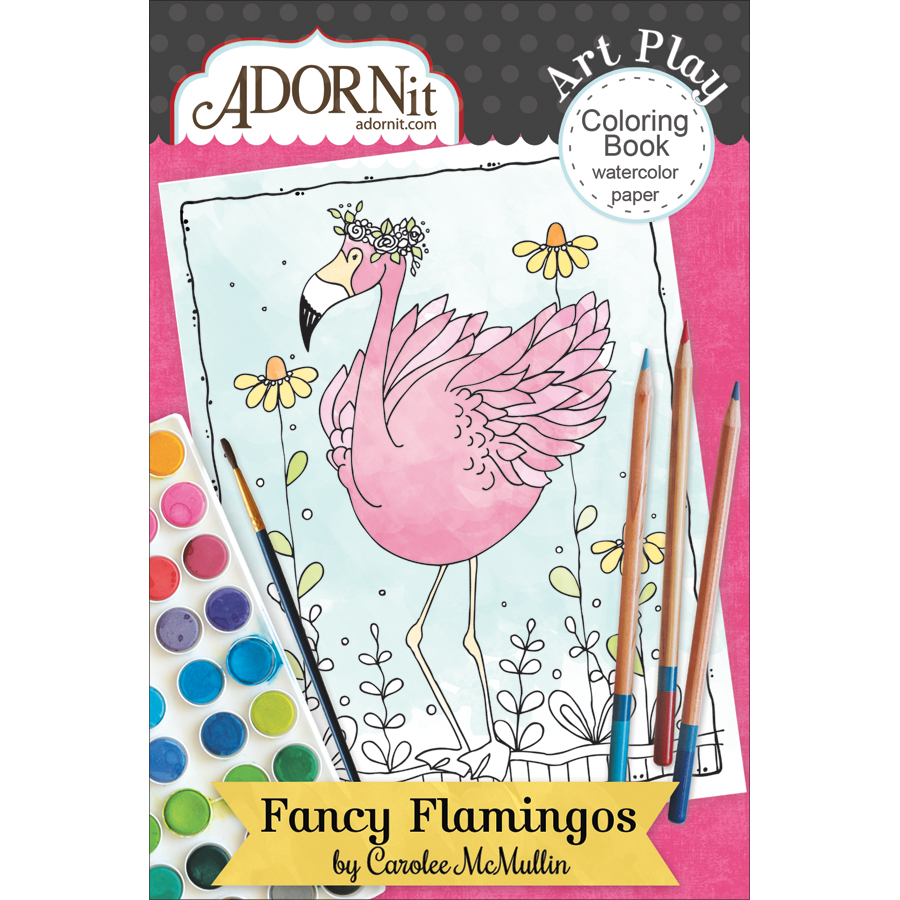 Adorn-It ARTPMCB-81033 Fancy Flamingo - Art Play Min Coloring Book