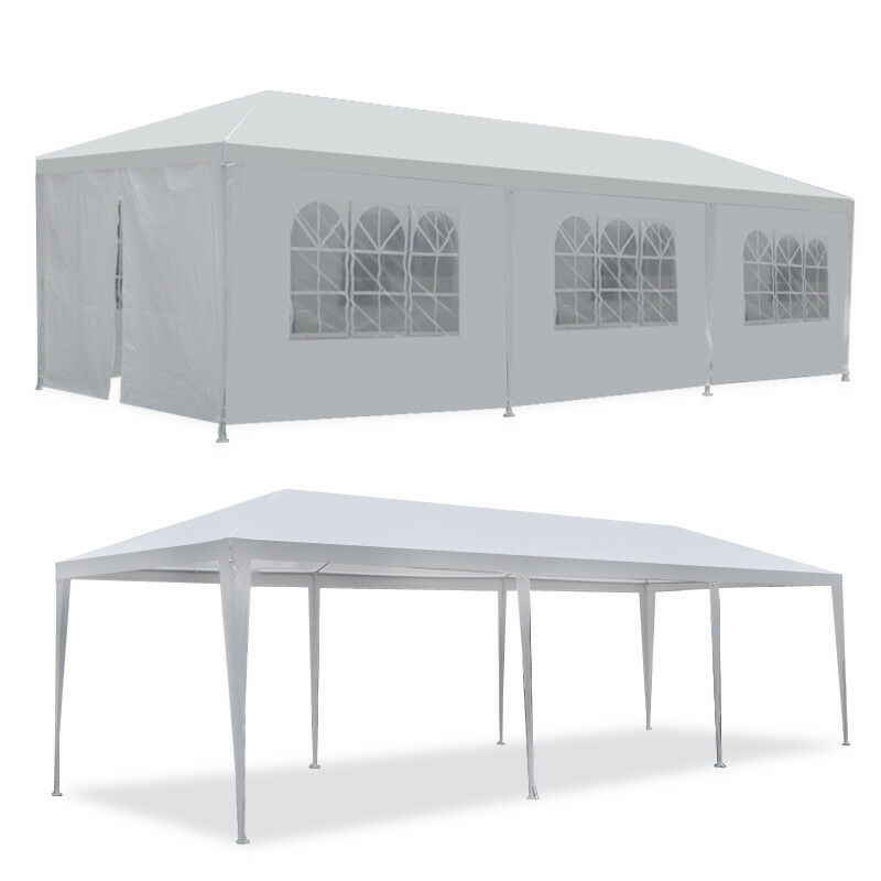 Online Gym Shop CB19006 Outdoor Party Tent with 8 Walls, White - 10 x 30 ft.