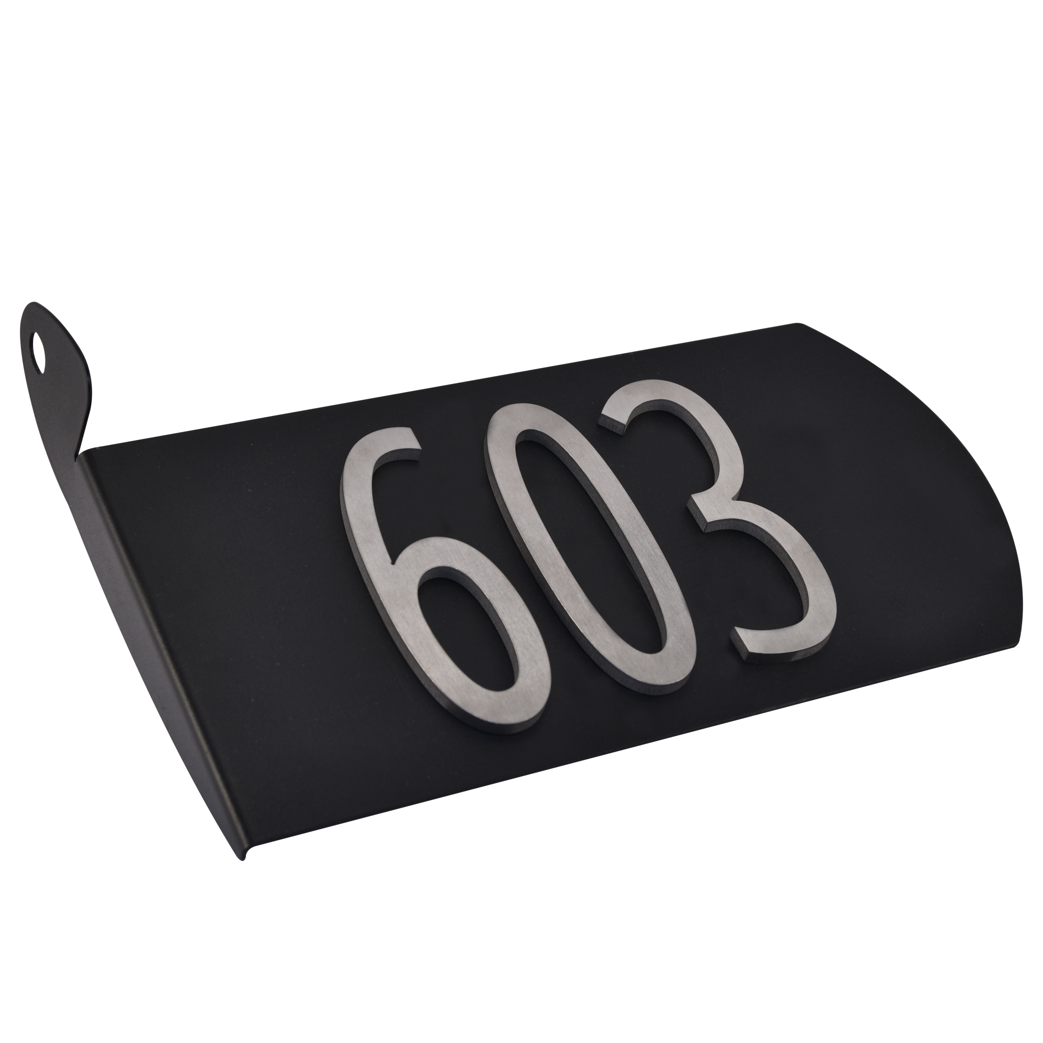 Image of 603 Products SPA-A001 Black Aluminum with Nickel Plated Numbers Spira Address Plate