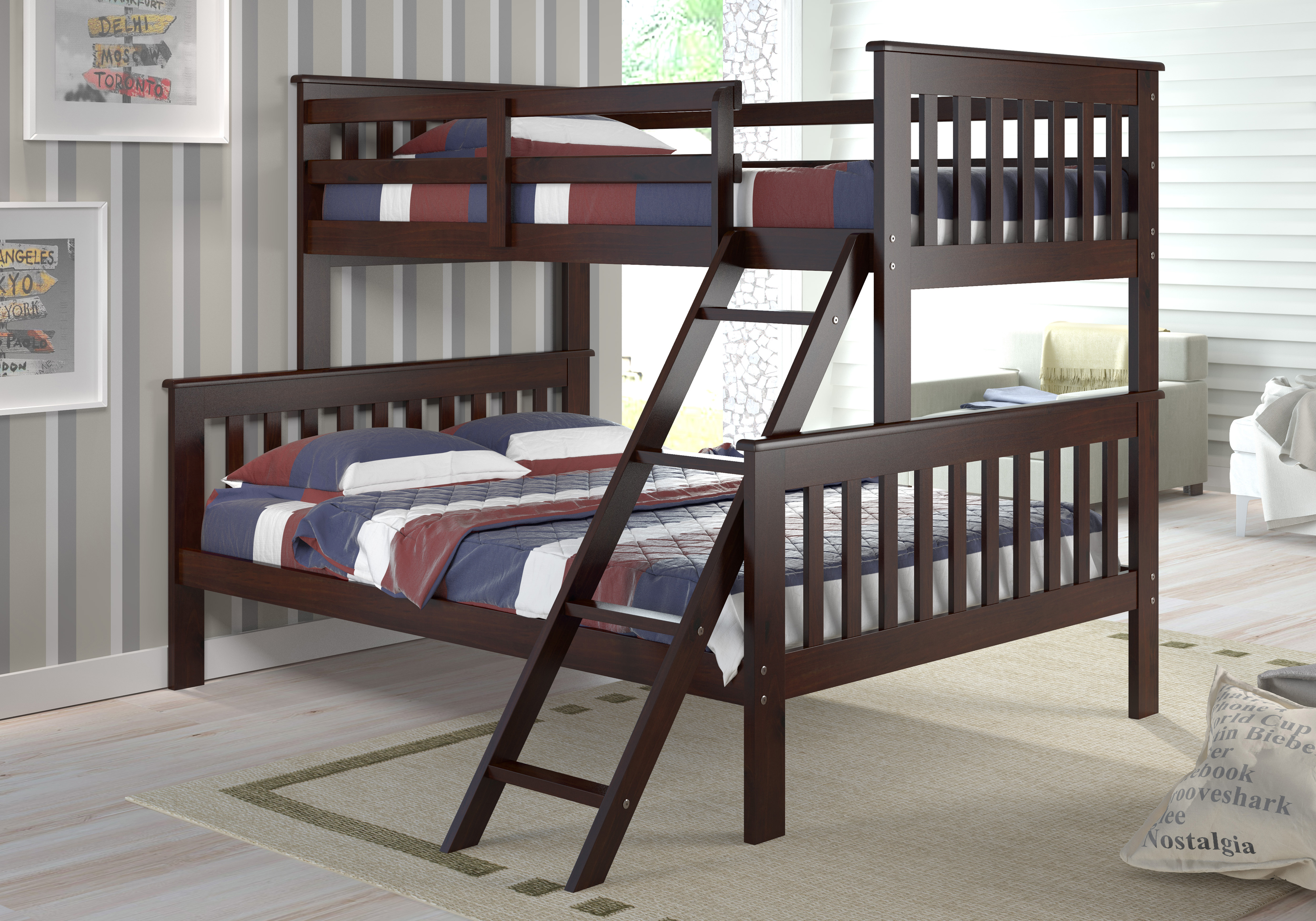 PD-122-2CP-TF Twin & Full Size Mission Bunk Bed with Tilt Ladder - Dark Cappuccino