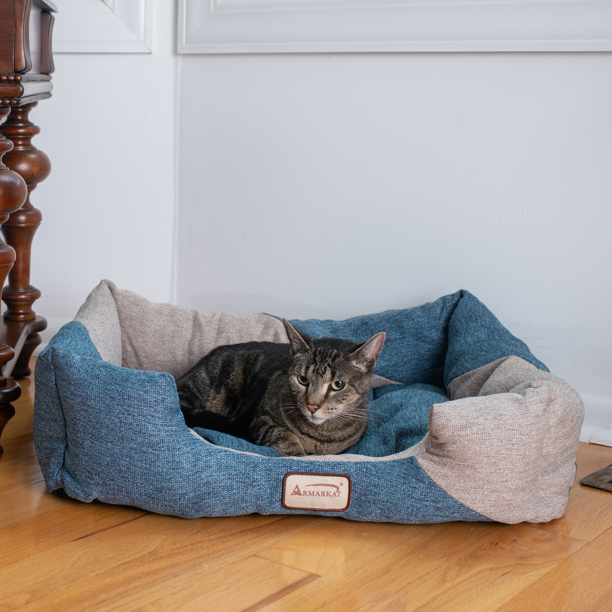 Image of AeroMark International C47 Armarkat Cat Bed Navy Blue & Beige