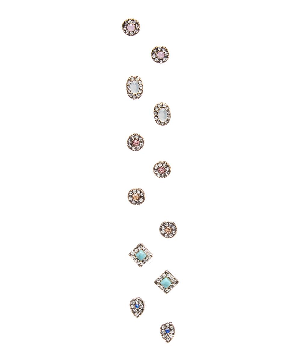 Henri Wills 610111306100 Crystal Halo Stud Earrings, Set of 6