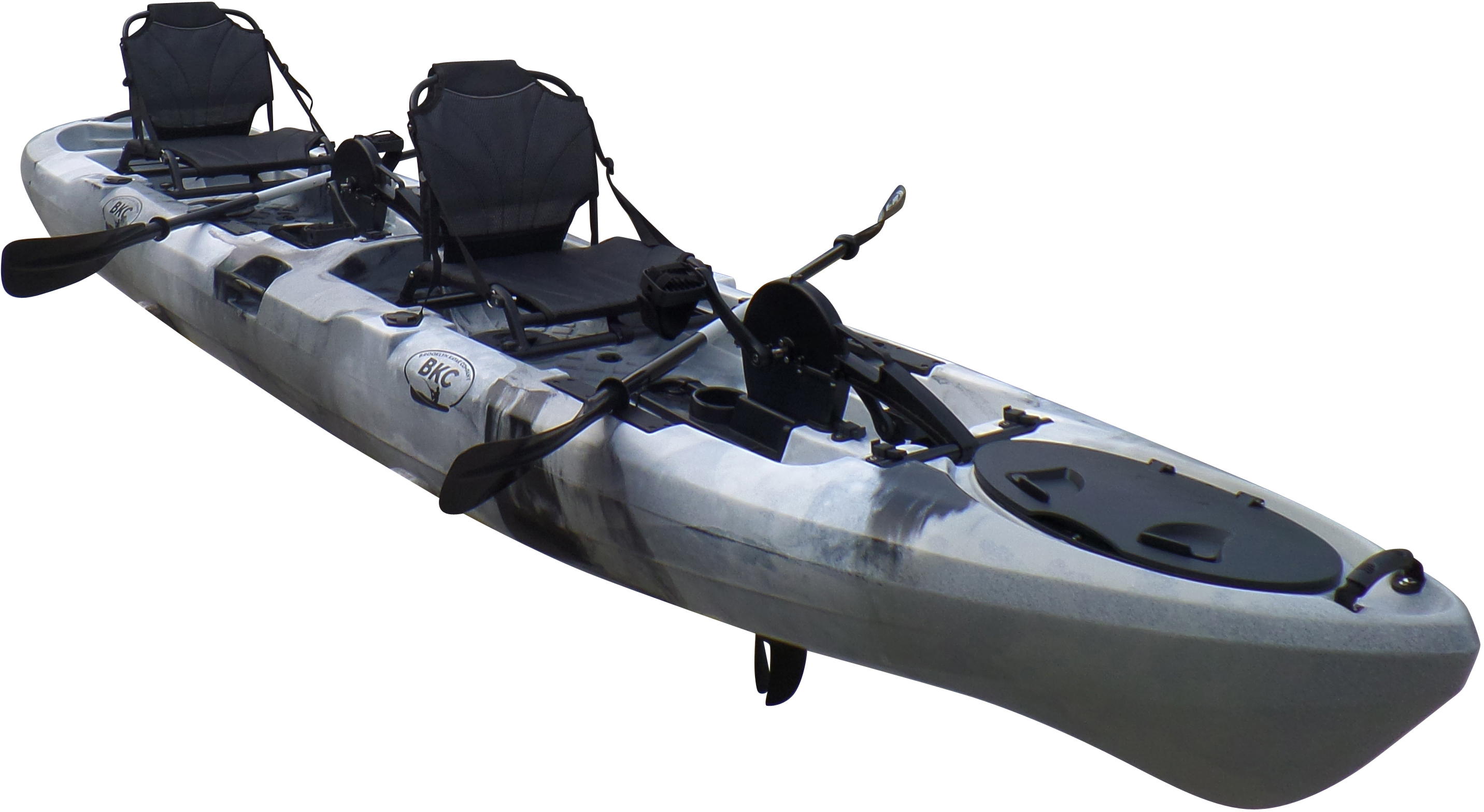 Brooklyn Kayak UH-PK14-GRY 14 ft. Sit on Top Tandem Fishing Pedal Drive Kayak Upright Seats Included - Grey