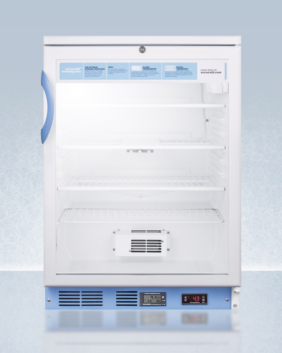 Summit Appliance SCR600LBIMED2 Built In Undercounter Glass Door Medical & Scientific Refrigerator with Digital Thermostat