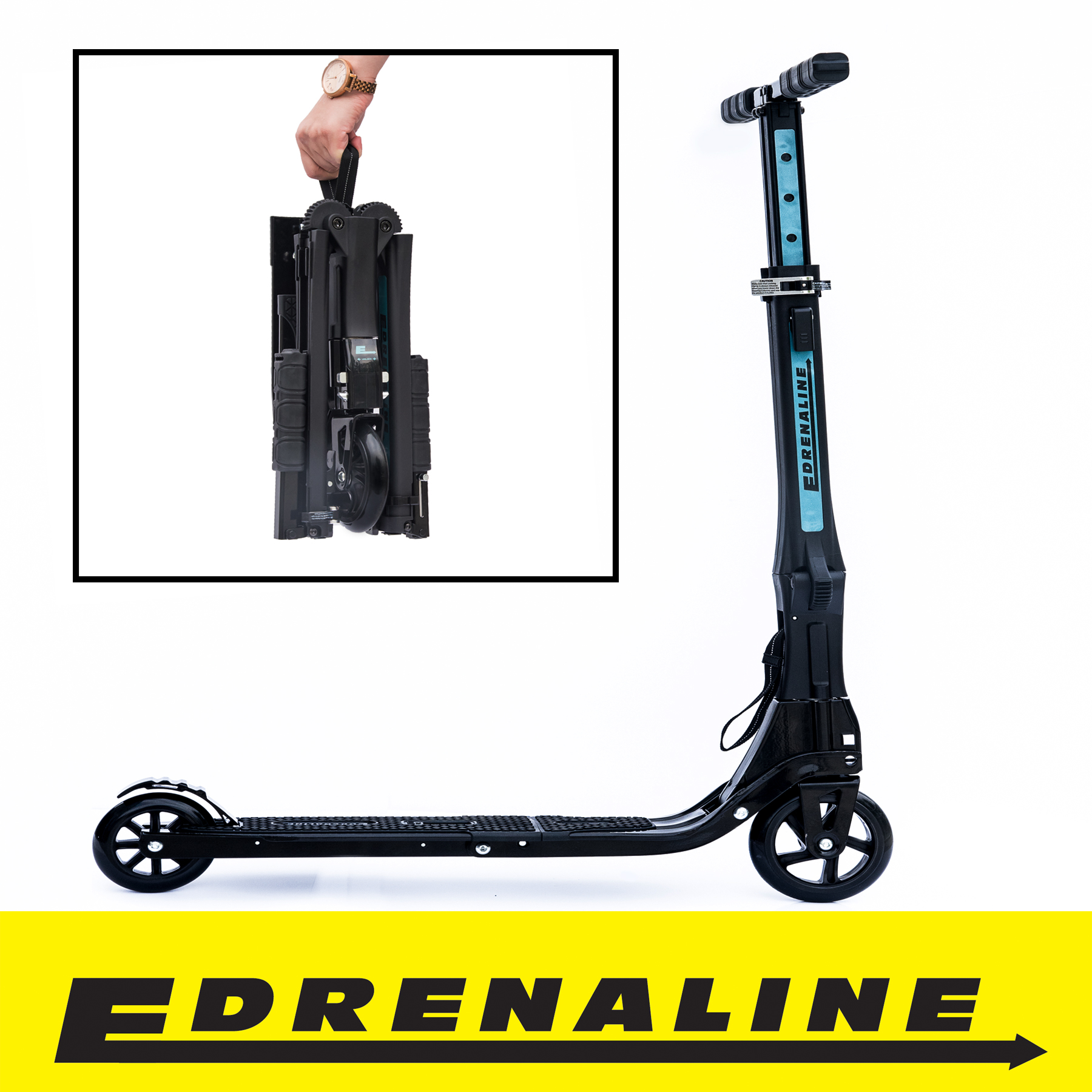 Edrenaline ST06 Matte Black Foldable Scooter with Carry Bag