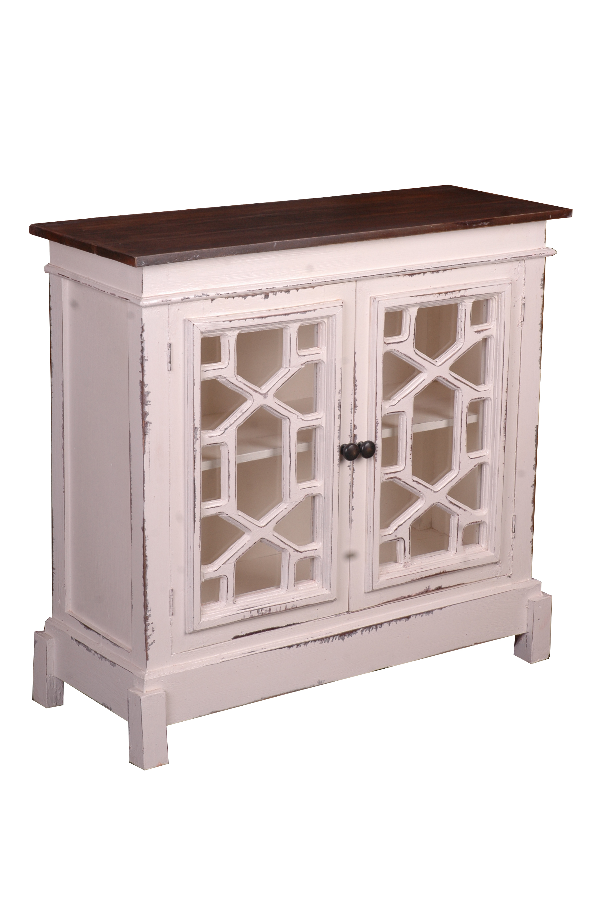 Sunset Trading CC-CHE301TLD-WWRW Cottage Lattice Cabinet