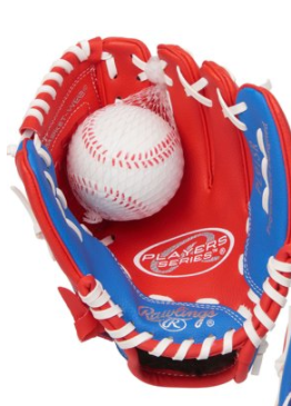 Rawlings Sport Goods 245546 9 in. Player Series Right Hand Red Royal & White Youth Glove with Ball Combo