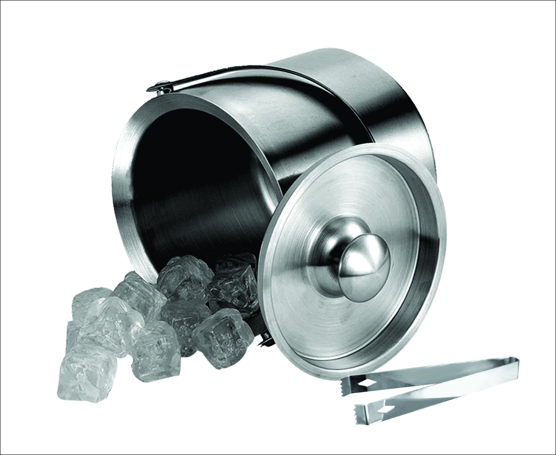 NuSteel IB-3MHT 3 qt Double Wall Ice Bucket with Ice Tong
