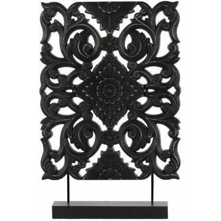 UrbanTrends 43404 Wood Filigree Ornament on Rectangular Stand Matte, Black - Tall