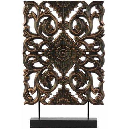 UrbanTrends 43405 Wood Rectangular Filigree Ornament on Rectangular Stand - Tall