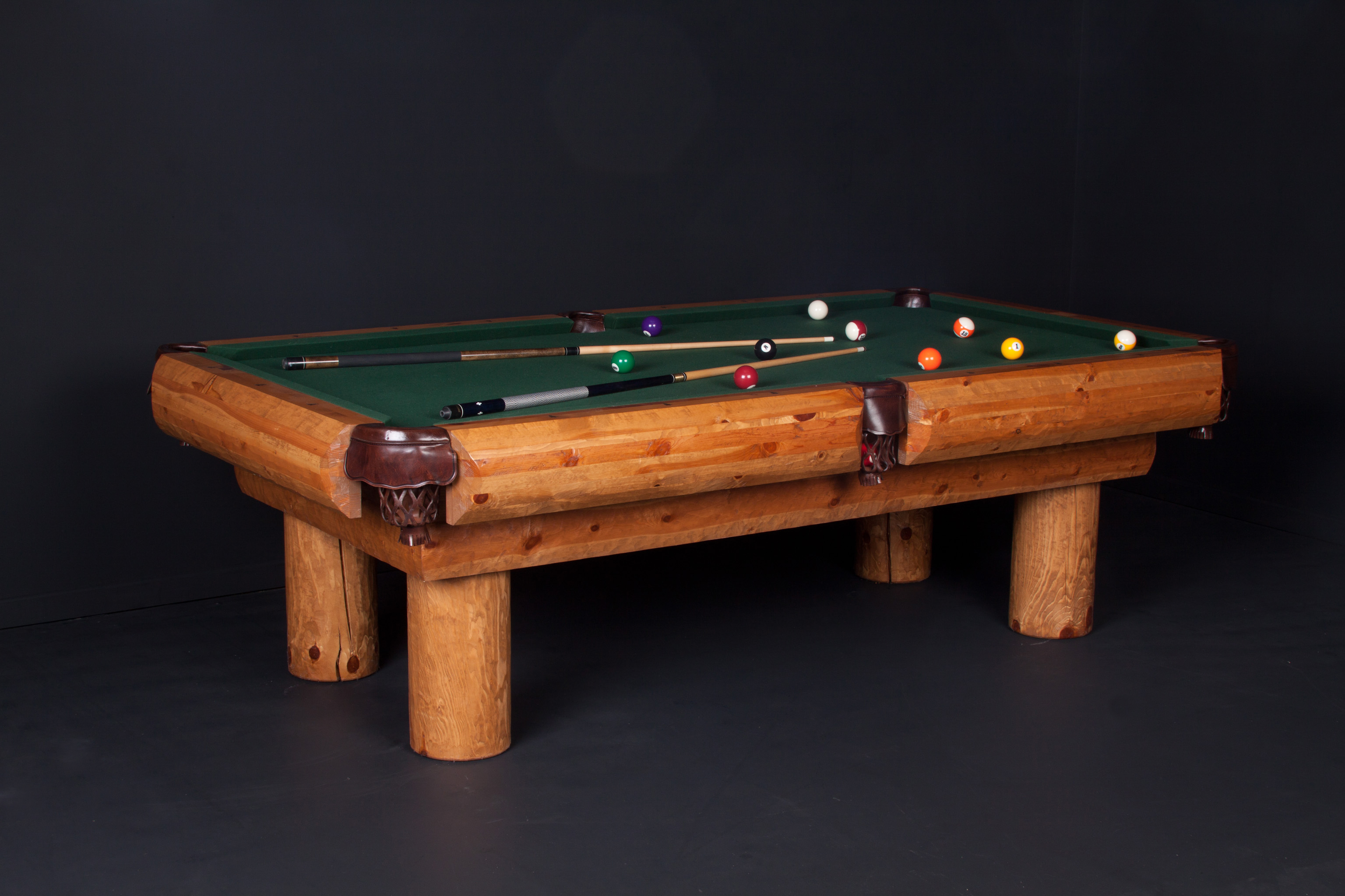 Viking Log Furniture LPPH8 8 ft. Ponderosa Pool Table - Honey Pine