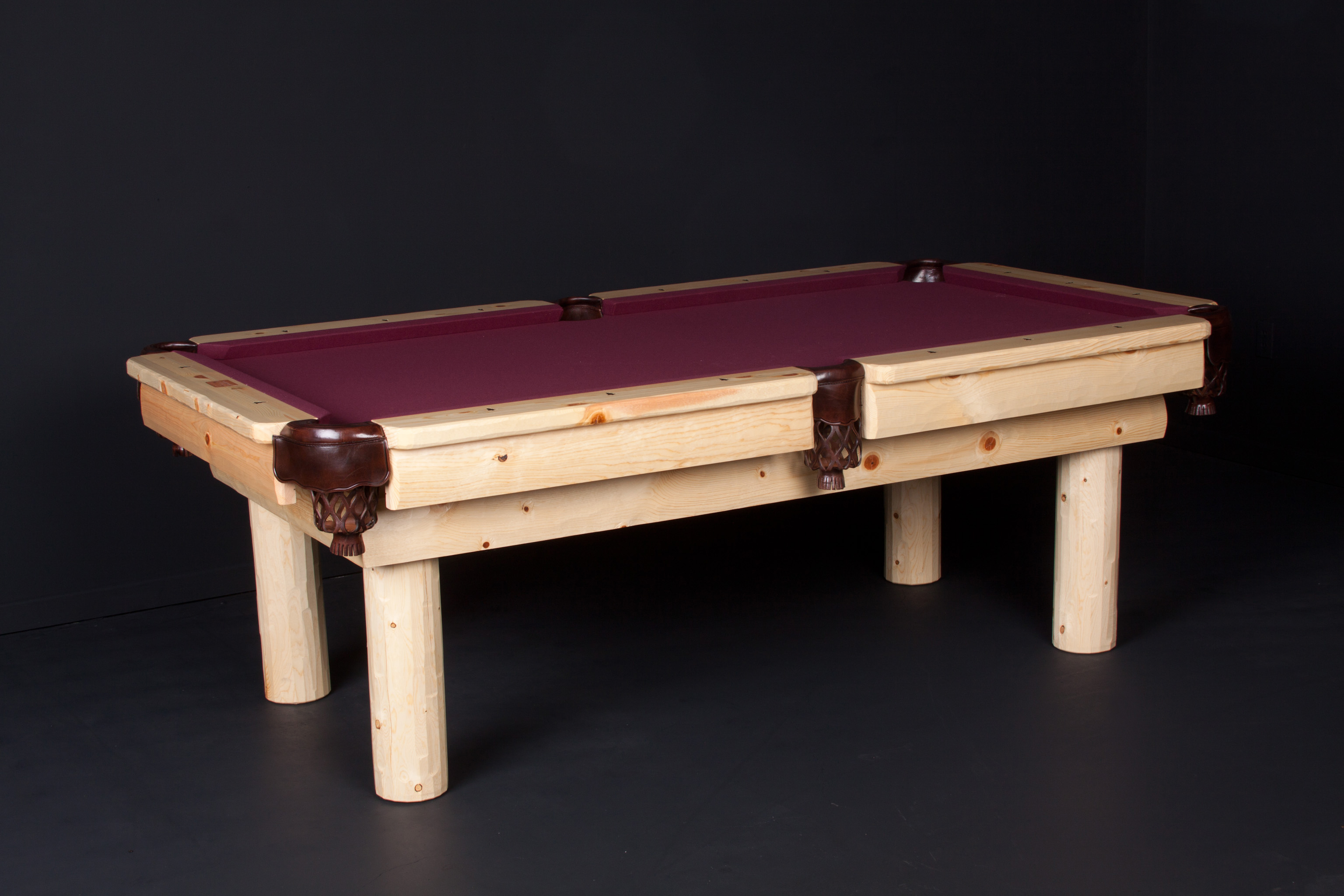 Viking Log Furniture LPNH7 7 ft. Noray Pool Table - Honey Pine