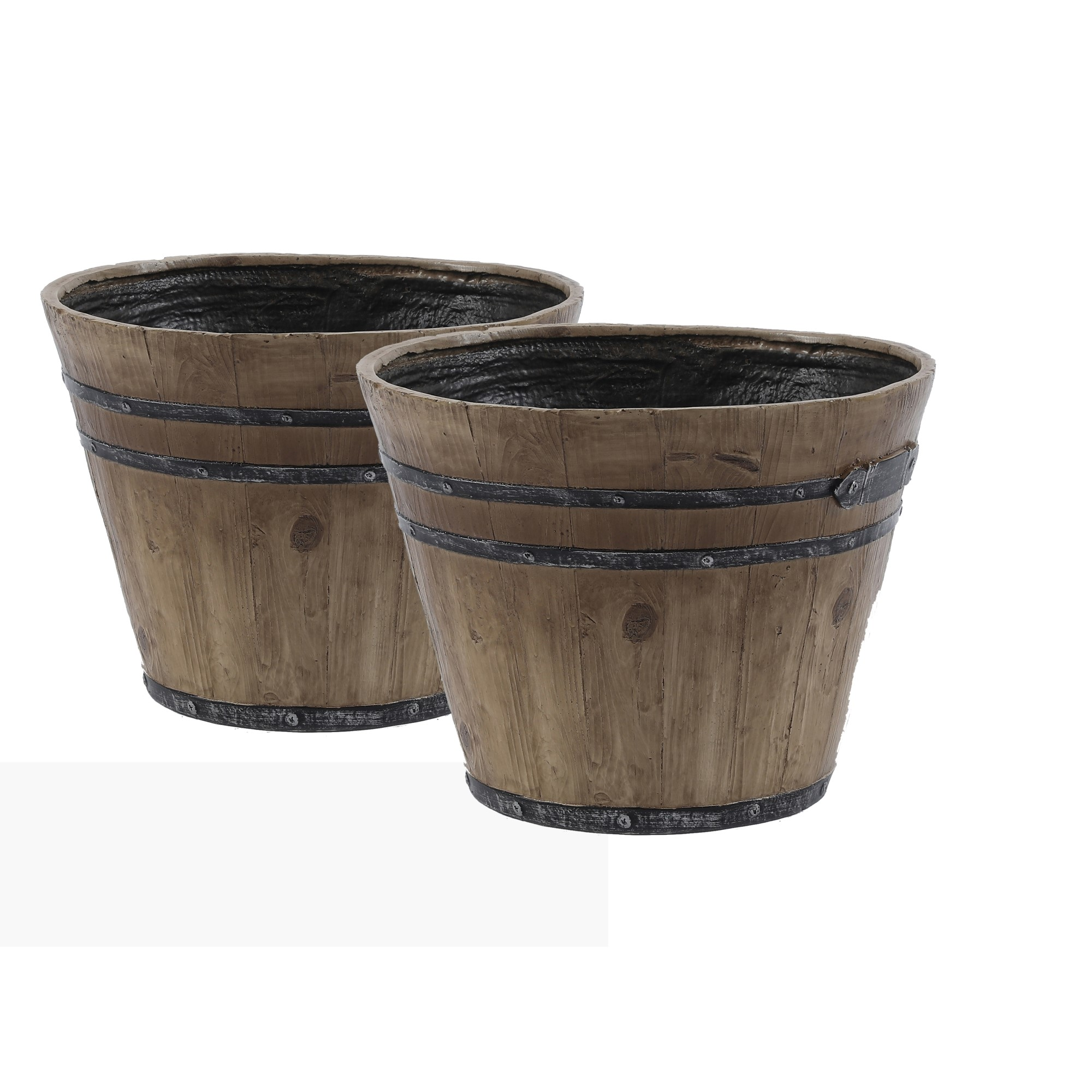 Luxen Home WH028 Barrel Planter with Rustic - Set of 2