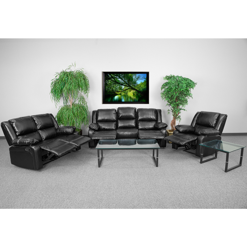 Harmony Series Black Leather Reclining Sofa Set admn104
