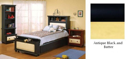 Alligator Enterprises 11037TTC6 Treasures Twin Bed in Antique Black in Butter