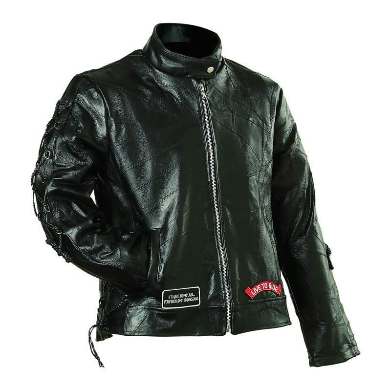 Diamond Plate GFLADLTRM Medium Ladies' Rock Design Genuine Buffalo Leather Motorcycle Jacket - Black