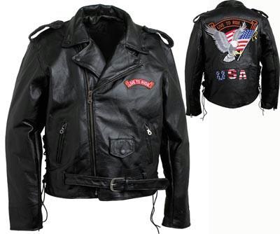 Diamond Plate GFMOTLTR3X Diamond Plate Men's Black Buffalo Leather Jacket - Size 3X