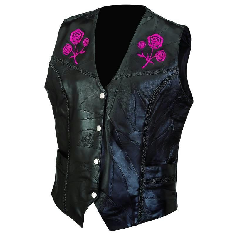 Live-Ride-Rock GFVROSEM Diamond Plate Rock Ladies Leather Vest-Medium