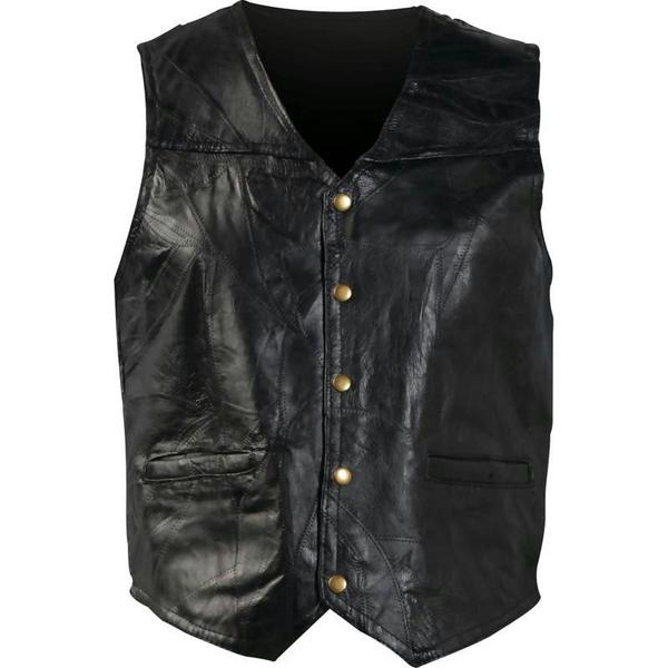 Giovanni Navarre GFVXXL Black Patched Leather Vest-XXL