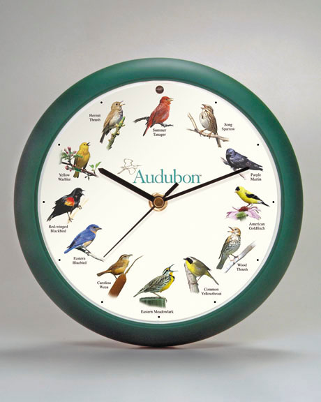 8 Inch Audubon Singing Clock - Green