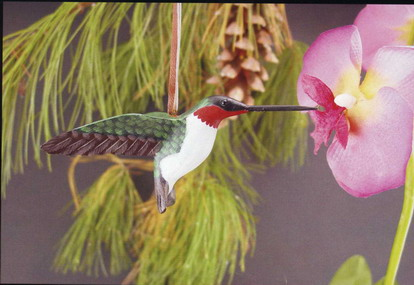 4 in Ruby Throated Hummingbird Ornament