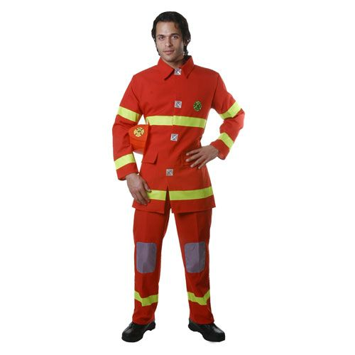 Dress Up America 341-M Adult Fire Fighter Costume in Red - Size Medium