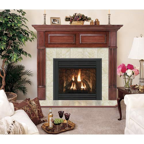 Geneva R Flush Standard Fireplace Mantel - Dark Traditional Mahogany