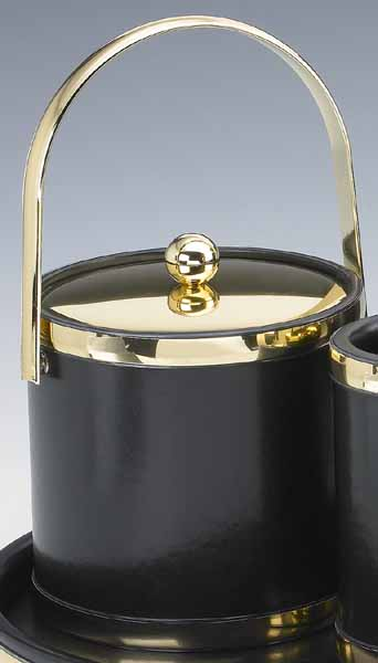 Kraftware 50054 Sophisticates Black with Polished Brass 3 Quart Ice Bucket with Track Handle  Bands and Metal Cover at Sears.com