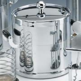 Kraftware 70094 Shiny Chrome 3 Quart Ice Bucket with Wood Side Handles  Bands and Metal Cover