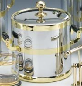Kraftware Shiny Chrome with Brass 3 Quart Ice Bucket