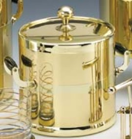 Kraftware 70294 Shiny Brass 3 Quart Ice Bucket with Wood Side Handles  Bands and Metal Cover