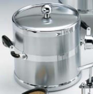 Kraftware 70494 Brushed Chrome 3 Quart. Metal Ice Bucket with Wood Side Handles