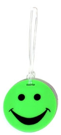 Lewis N Clark ID99GRN Smiley Face Rubber Luggage Tag- Green