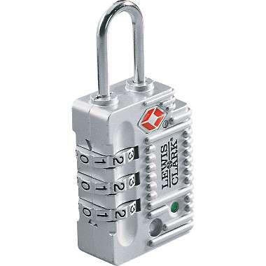Lewis N Clark TSA30SIL Travel Sentry Indicator Combo Lock - 3 Dial - Silver