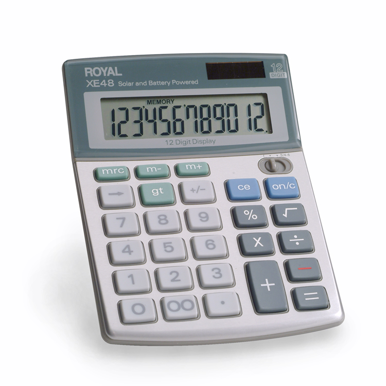 Royal XE48 12-Digit Desktop With Last Digit Erase Calculator