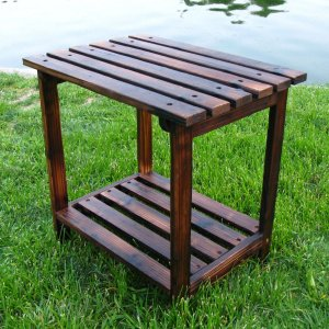 Shine Co 4104BB 19.75 x 14 x 19.75 Inch Rectangular Side Table - Burnt Brown