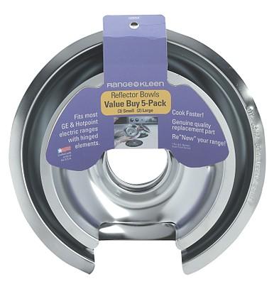 Range Kleen 10565X GE-Hotpoint-Kenmore Chrome Drip Pan -  Five-Pack