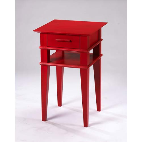 TLS by Design 1B-2004-L Kensington Place Large Accent Table - Translucent Red