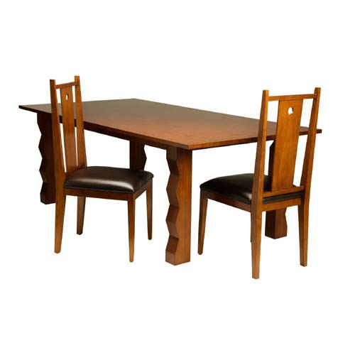TLS by Design 3D-2007 Tikal Zig-Zag Transitional Dining Table - Cherry