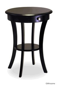 Winsome 20227 Black Beechwood ROUND ACCENT TABLE WITH ONE DRAWER ONE SHELF