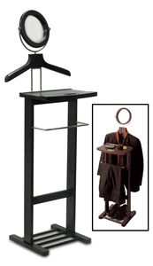 Winsome 92055 Espresso Beechwood VALET STAND WITH MIRROR COAT & PANT RACKS