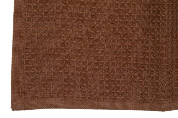 Dunroven House K330-BRN Solid Waffle Weave Tea Towel in Brown- Pack of 6