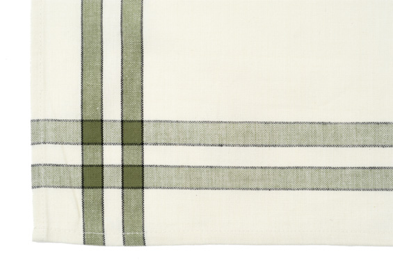 Dunroven House K360-SC Tea Towel in Sage and Cream with Black Stripe- Pack of 6