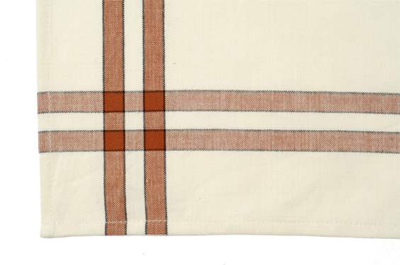 Dunroven House K360-TC Tea Towel in Terra Cotta and Cream with Black Stripe- Pack of 6