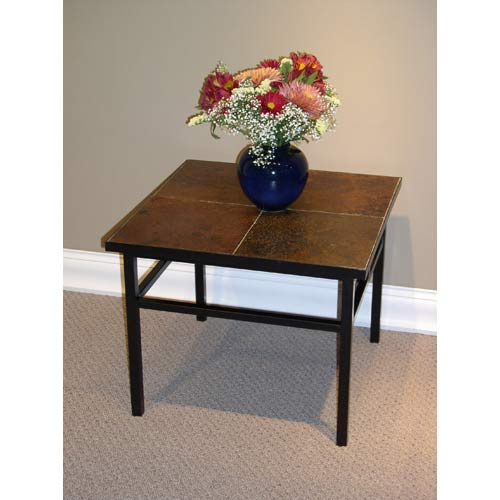 4D Concepts 601624 End Table with Slate Top in Metal and Slate