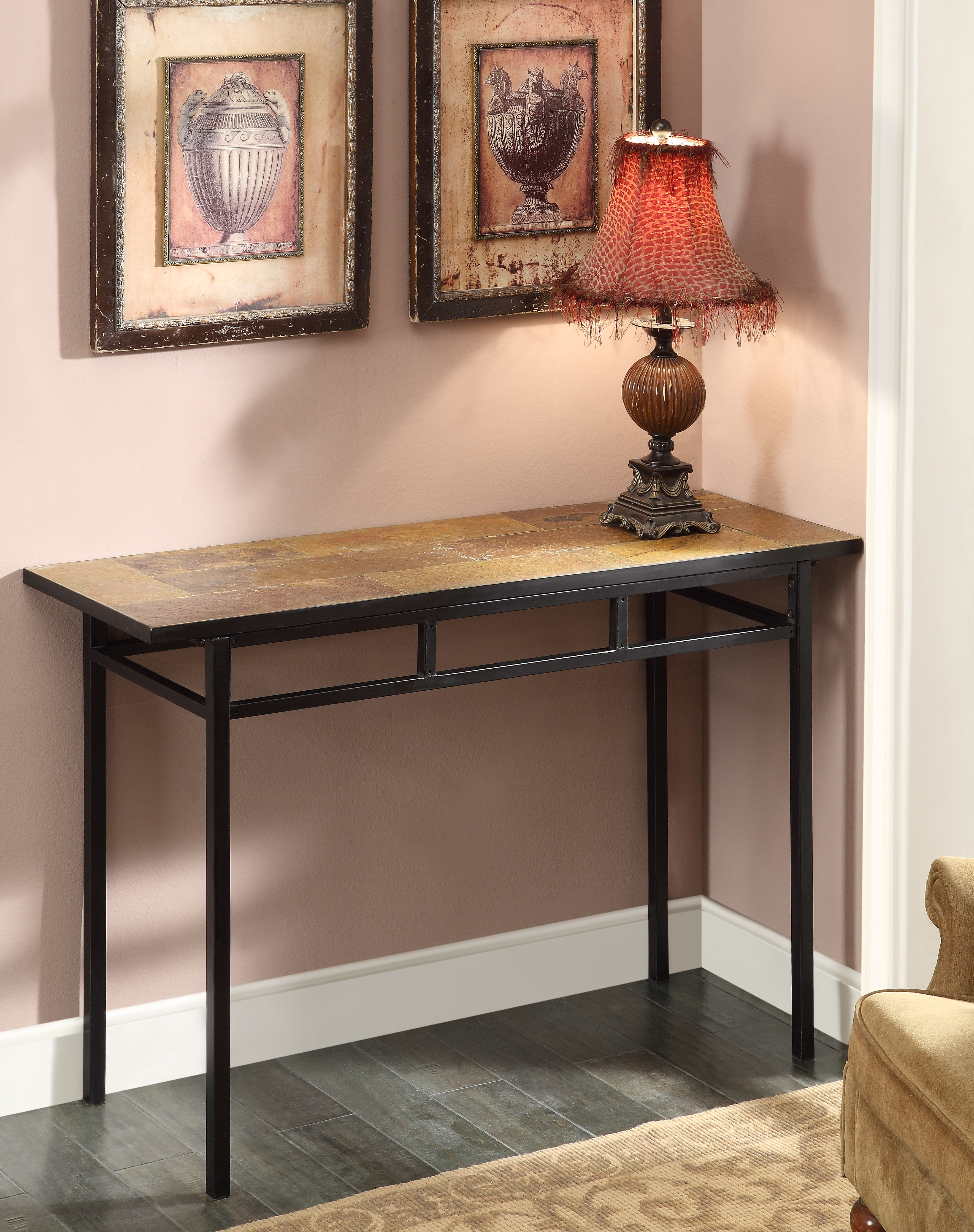 4D Concepts 601636 Sofa Table with Slate Top in Metal and Slate