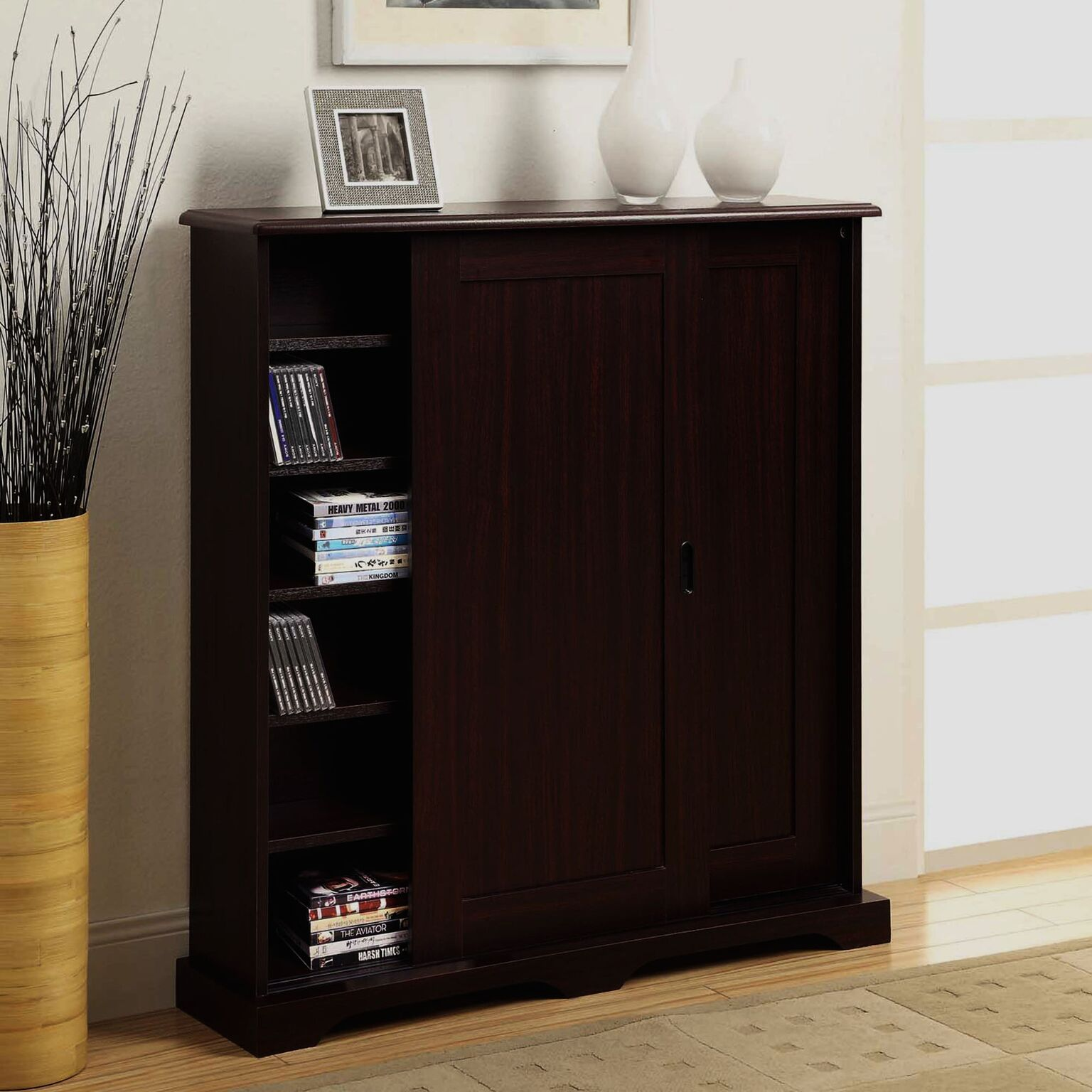 4D Concepts 51601 Sliding Door Multimedia Stand in Cherry